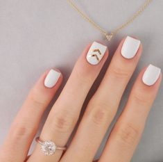 nails, white and gold