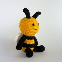 Cute Little Bee, Small Amigurumi Bee, Crochet Toy Bee, Stuffed Toy, Bee Softie, Stuffed Animal, Insect, Bumble Bee, Miniature Amigurumi by MWHandicrafts on Etsy https://www.etsy.com/listing/240105541/cute-little-bee-small-amigurumi-bee