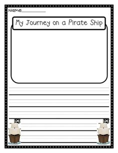 FREE: 4 Pages of Super Cute Pirate Theme Writing Prompt Papers from Crazy for First Grade: More Pirate Fun!!