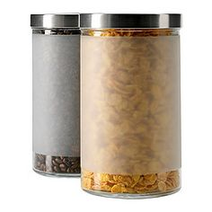 DROPPAR Jar with lid, frosted glass, stainless steel - IKEA