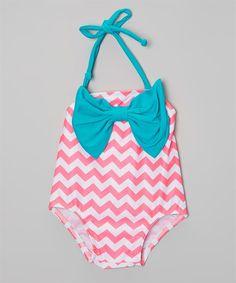 Bow Chevron Swimsuit- Infant/Toddler