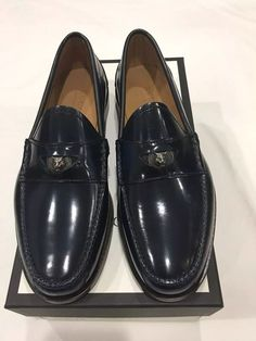ffe2948db0f Details about Gucci Men s Blue Leather penny Loafer with Metal Feline . 10  Gucci. 10.5 US. AUT