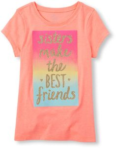 Girls Short Sleeve 'Sister's Make the Best Friends' Graphic Tee