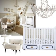 Love the neutral color palette of this chic nursery