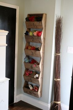 No need to buy a shoe cupboard, good use of wall space and keep the shoes off the floor