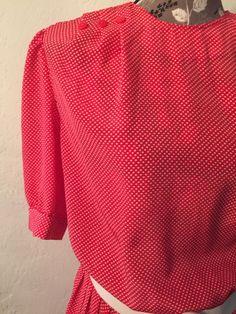 Vtg Caroline Wells Dress Red Polka Dot L Pinup Rockabilly Size 8 Button Belt | eBay