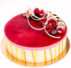Raspberry mousse and sponge cake