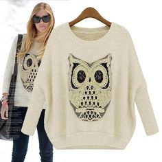 Embroidered Owl Knitted Sweater