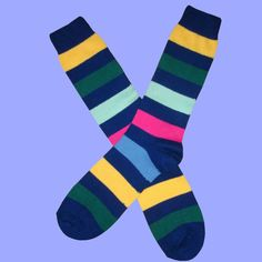 Navy Multi Stripe Socks | Bassin and Brown – Bassin And Brown Navy Socks, Brown Socks, Striped Socks, Multi Coloured Socks, Bamboo Socks, Cotton Socks, Calves, Light Blue, Stripes