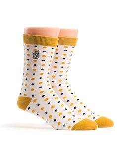 Classic polka dot sock, detailed with the color gold, the designated awareness color of Childhood Cancer. #socks #polkadot #white #gold #black #childhoodcancer https://rockthesocks.org