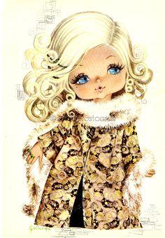 Big Eyed Girl Vintage 70s  postcard by Gallarda - It's Cold Outside
