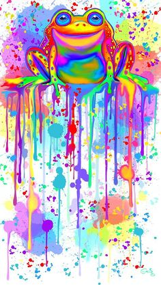 Wall Art - Painting - Colorful Painted Frog by Nick Gustafson Frog Wallpaper, Crazy Wallpaper, Frog Emoji, Frog Drawing, Frog Pictures, Frog Art, Rainbow Painting, Cute Frogs, Frog And Toad