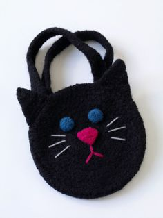 Felted Black Cat Bag free pattern
