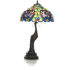 """29"""" H Stained Glass Iris of the Peacock Table Lamp