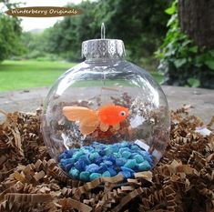 Fish Bowl Ornament - Goldfish with Blue Stones - Christmas Ornament, Co-Worker…