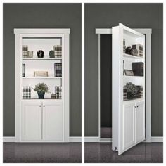 A flush-mount Murphy Door kit looks like a built-in bookcase when the door is closed