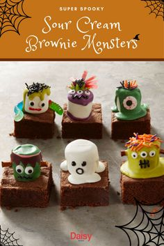 Let your imagination run wild with these mischievous brownie monsters. Quick and fun, these spooky sweets are sure to put you in the Halloween spirit! Halloween Sweets, Halloween Baking, Halloween Goodies, Halloween Food For Party, Halloween Cupcakes, Halloween Birthday, Halloween Kids, Halloween Labels, Halloween Crafts