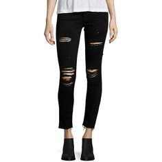 AG Distressed Raw Hem Legging Ankle Jeans (175 BRL) ❤ liked on Polyvore featuring jeans, apparel & accessories, destroyed skinny jeans, skinny ankle jeans, ankle zip jeans, skinny jeans and ankle jeans