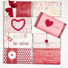 Make your own candy bar covers with scrapbooking papers, ribbons and other accents. Click for more easy Valentine's ideas!