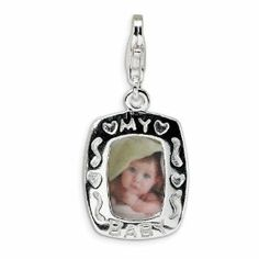 Sterling Silver Polished My Baby Frame With Lobster Clasp Charm - Measures 29x13mm - JewelryWeb JewelryWeb. $28.00