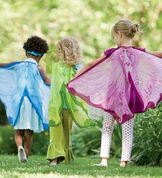 Fabric Fairy Wings- so much better than the dollar store elastic band around shoulder ones. They break and stretch out so easily.