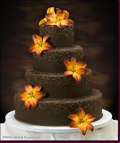 A cake that both me and Baden agree on! Google Image Result for http://www.bridal-cakes.com/images/gal_wed_chocolateFantasy.jpg