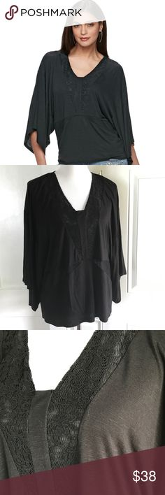 🆕Jennifer Lopez lace dolman tee NWT. Jennifer Lopez Collection. Features inset lace details for a feminine look, v-neck, and wide 3/4-length dolman sleeves. Black. Size large. Jennifer Lopez Tops Tees - Long Sleeve