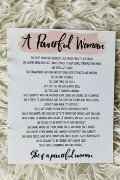 Strong Women Gift - A Powerful Woman Poem Art Print - - Unframed Mother In Law Quotes, Mothers Day Poems, Mom Quotes, Life Quotes, Birthday Quotes For Daughter, Happy Birthday Quotes, Birthday Wishes, Inspirational Prayers, Short Inspirational Quotes