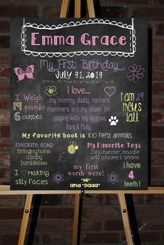 Items similar to Custom Printable First Birthday Board Poster on Etsy It's a little weird that the name on it is the name I have picked out for my first-born daughter. First Birthday Board, First Birthday Parties, First Birthdays, Birthday Ideas, Canvas Signs, My Little Girl, Poster On, Vw, Chalkboard