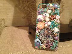 Ocean Scene Swarovski iPhone 5  phone case embellished Handmade Bling Decorated Crystal. $70.00, via Etsy.