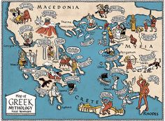 Map of Greek Mythology by Hazel Newlevant, via Behance