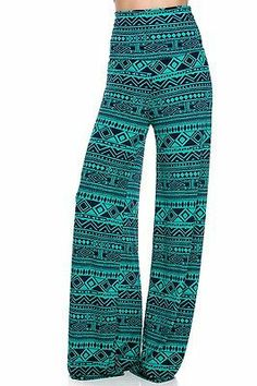 Tribal turquoise Palazzo print yoga pants fold-over waist flowy SZ: XL