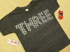 Race Car Black and White Racecheck Birthday Shirt Boys Birthday Tee Organic Blend. $25.00, via Etsy.