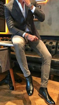 21 exclusive business casual for men 13 - Männer Outfit - Men Men's Business Outfits, Business Casual Men, Men Casual, Casual Styles, Casual Jeans, Dress Casual, Mens Biker Boots, Ankle Boots Men, Men's Boots
