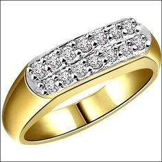 DIAMOND RING FINE WIDE BAND  IN TWO TONE 18k GOLD