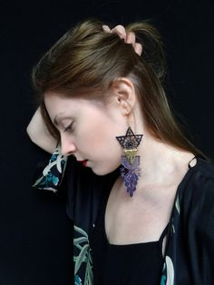 purple&black lace earrings from the ''Lullaby'' by BlameEve, €20.00
