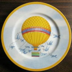 Decorative Dishes - Whimsical Yellow Hot Air Balloon Blue Birds Sky Gold Edge Plate Japan, $19.99 (http://www.decorativedishes.net/whimsical-yellow-hot-air-balloon-blue-birds-sky-gold-edge-plate-japan/)