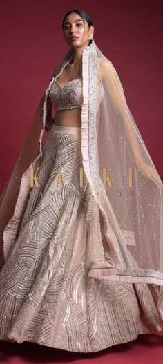 Champagne Beige Lehenga Choli In Raw Silk With Embellished Geometric Pattern Online - Kalki Fashion Lehenga Choli, Sari, Wedding Function, White Embroidery, Champagne, Reception, Gown, Outfit Ideas, Neckline