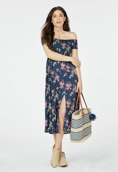 Off The Shoulder Midi Dress in INDIGO MULTI - Get great deals at JustFab