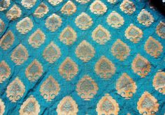 [extremely high res screenshot]    Peacock Bluish Green With Gold Motifs Chanderi Cotton Silk Fat Quarter India.