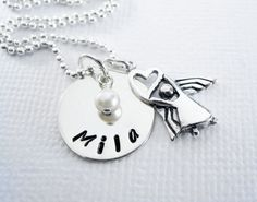 Easter Necklace - Angel Heart - First Communion - Confirmation - Baptism - Personalized - STERLING SILVER - Patricia Ann Jewelry Designs