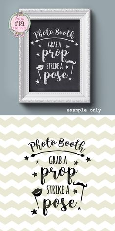 Wedding photo booth sign grab a prop strike a by LoveRiaCharlotte