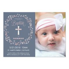 Baptism Christening Photo Invitation - Baby Girl #baptism #invitation #christening #picture #photo