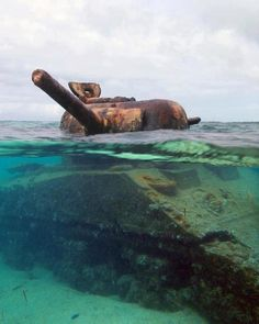 This Sherman tank appears to still be aiming at a Japanese gun emplacement on the island of Saipan 70 years after the US forces claimed the island in 1944!