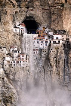 Phuktal Monastery during monsoon season. Phugtal Monastery or Phugtal Gompa (often transliterated as Phuktal) is a monastery in south-eastern Zanskar, Ladakh in northern India. Travel.