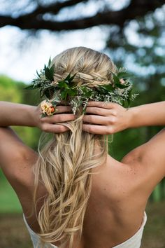 Accent a braided half-up half-down hairstyle with a floral crown for a whimsical garden bridal look! {Shelly Taylor Photography}