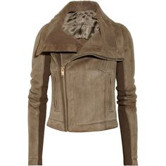 Rick Owens Shearling-lined leather biker jacket (5.725 BRL) ❤ liked on Polyvore featuring outerwear, jackets, coats, leather, rick owens, brown, leather motorcycle jacket, biker jacket, brown motorcycle jacket and leather jackets
