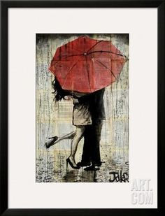 The Red Umbrella Art Print by Loui Jover at Art.com