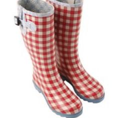 Red gingham rain boots! So happy!