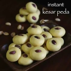 instant kesar peda recipe, kesar milk peda with milkmaid with step by step photo/video. traditional indian milk based fudge similar to mawa peda, khoya peda Indian Dessert Recipes, Indian Sweets, Sweets Recipes, Snack Recipes, Rice Recipes, Recipies, Easy Sweets, Snacks, Oreo